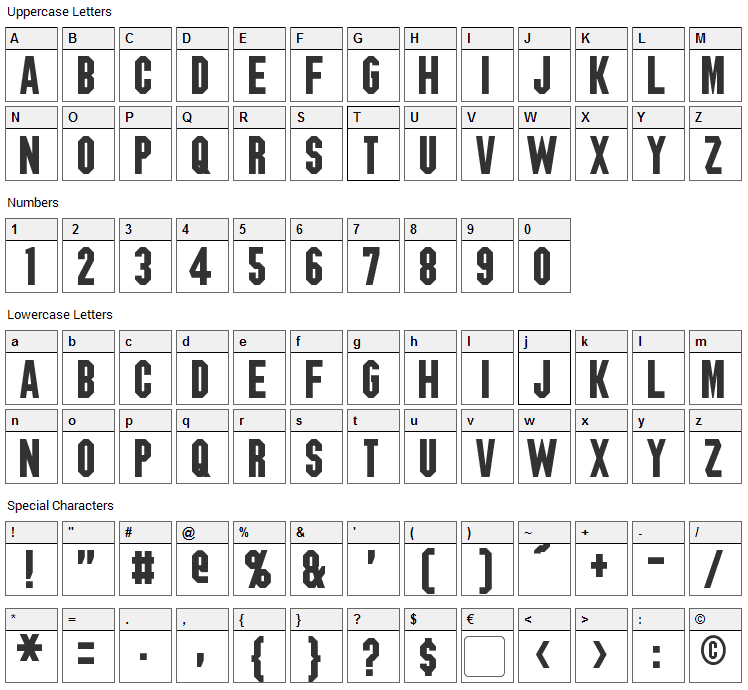 Blitzwing Font Character Map