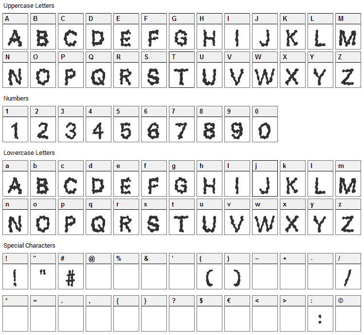 Blobs Font Character Map