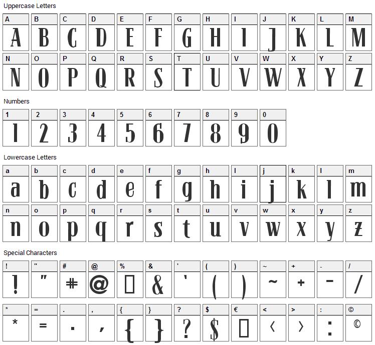 Bloc Font Character Map