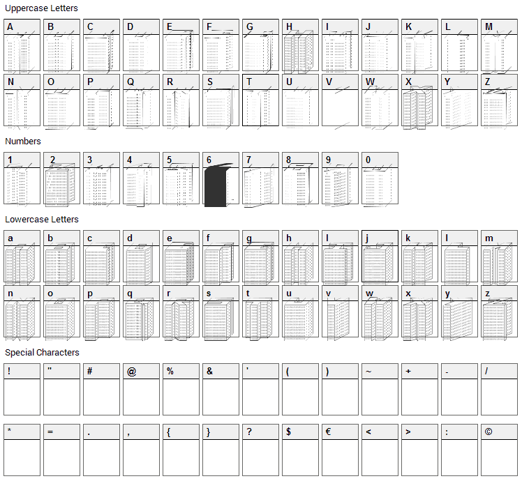 Block 1900 Font Character Map