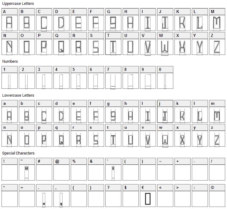 Block Titling Font Character Map