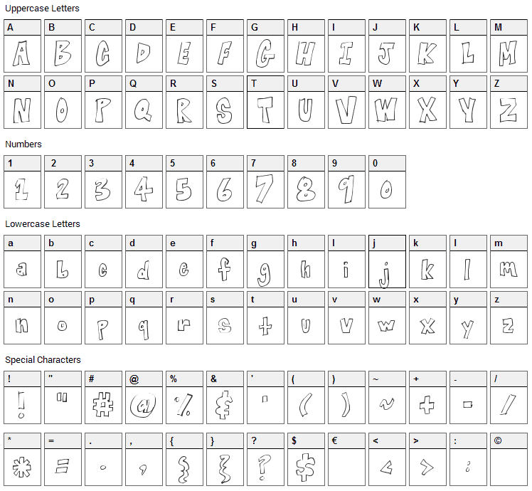 Blocked Off Font Character Map