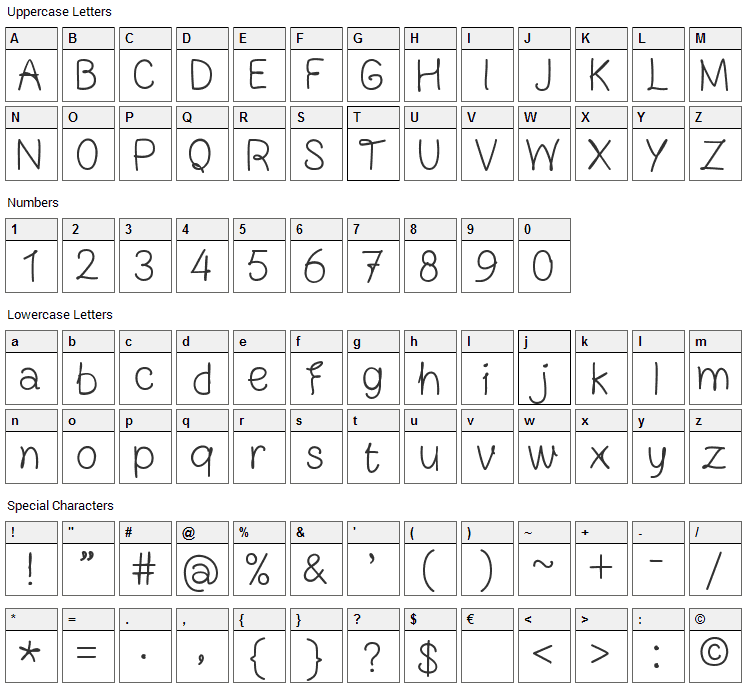 Blocknote Hand Font Character Map