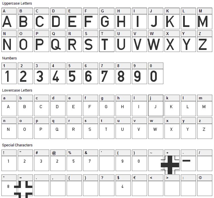 Blockschrift fur Flugzeuge Font Character Map