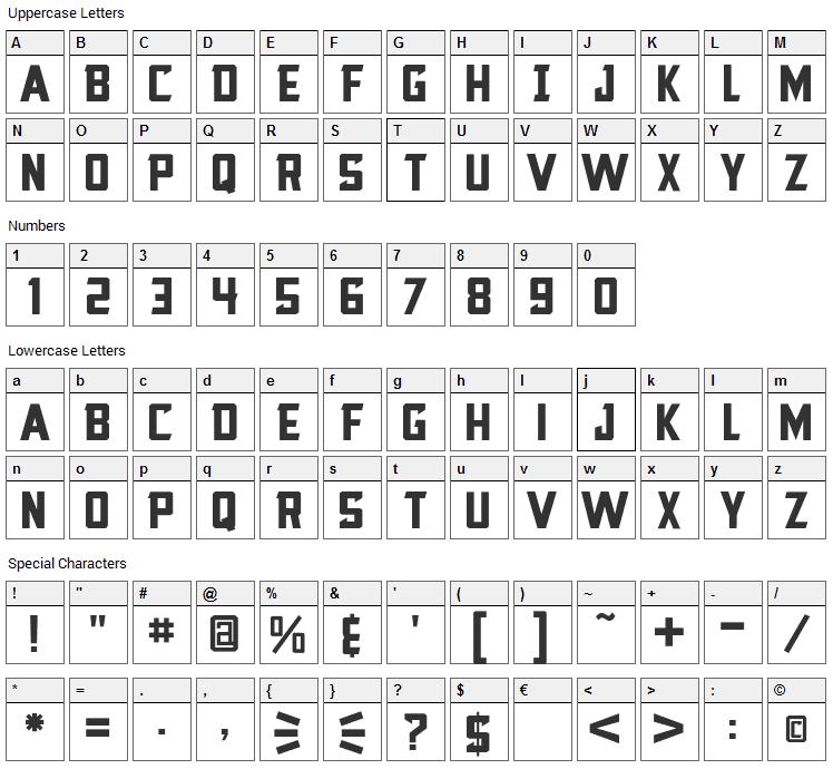 Blocktastic Font Character Map