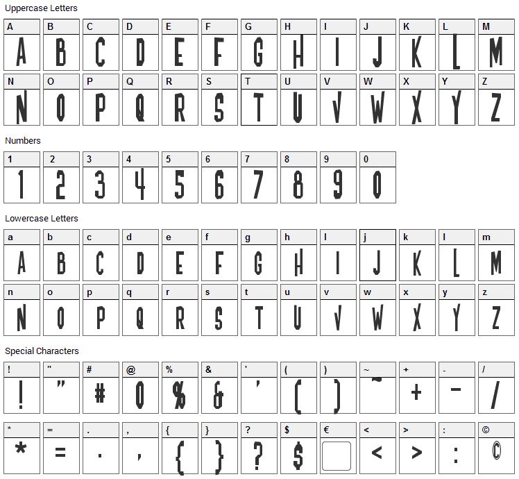 Blofeld Font Character Map