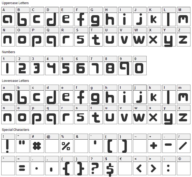 Blojbytesdepa Font Character Map