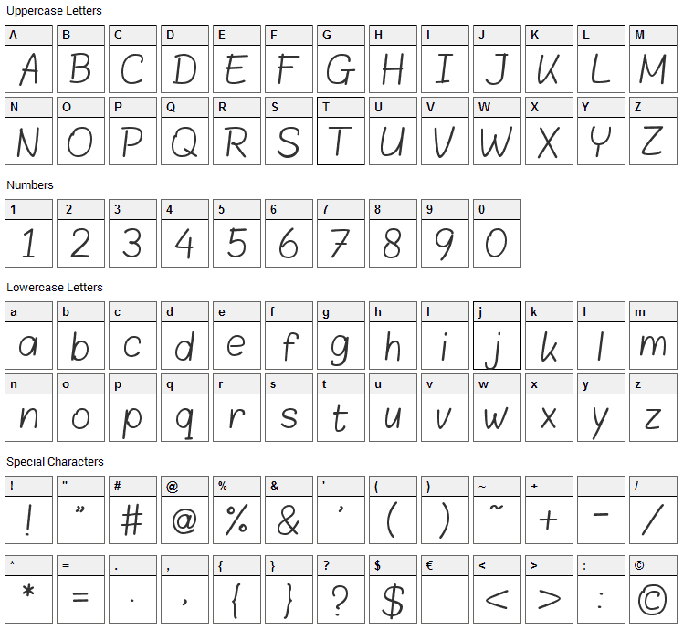 Blokletters Font Character Map