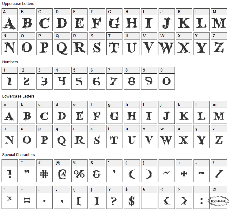 Blood Crow Font Character Map