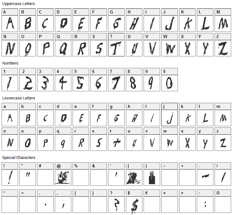 Bloodsuckers Font Character Map