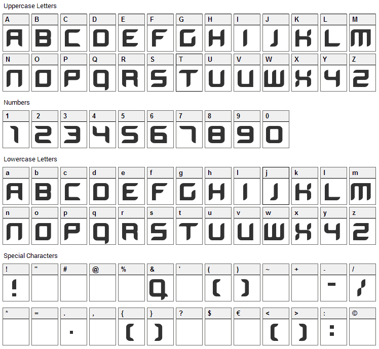 BloodWax Font Character Map