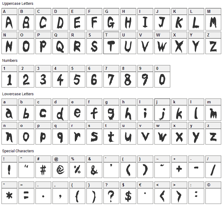 Bloodyslime Font Character Map