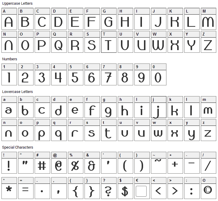 Bloomingworth Font Character Map