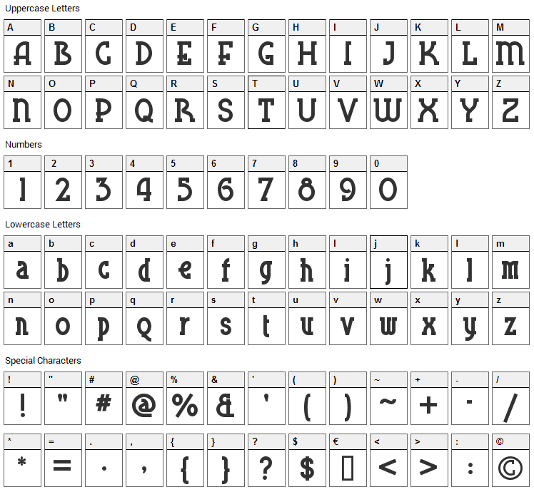 Blue Plate Special SW Font Character Map