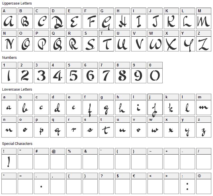 Bluelmin Kisaburo Font Character Map