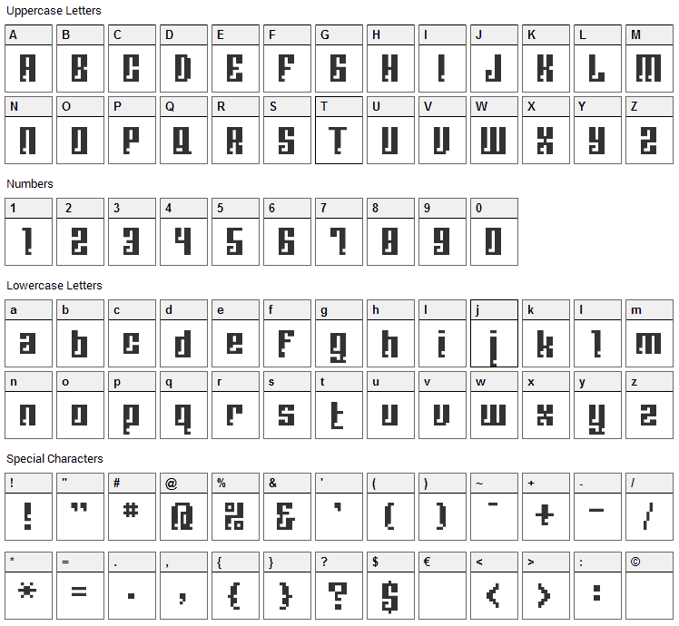 BM Corrode Font Character Map