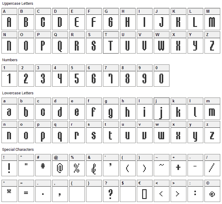 BM Delico Font Character Map