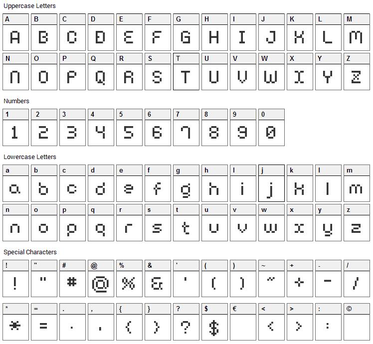 BM Harry Font Character Map