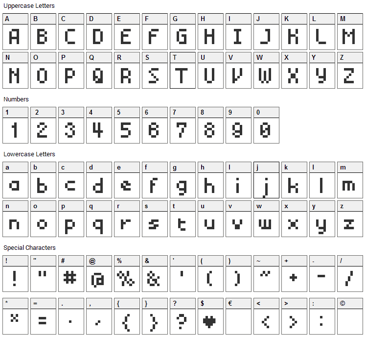 BM Mini Font Character Map