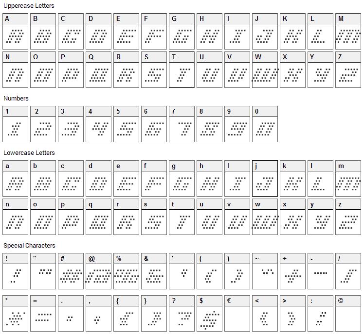BM Pinhole Font Character Map