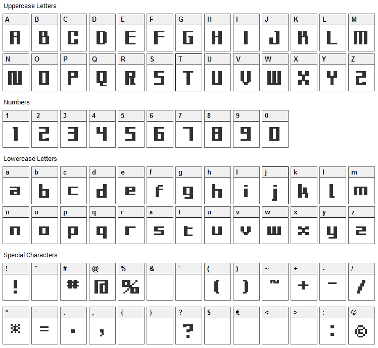 BM Sly Font Character Map