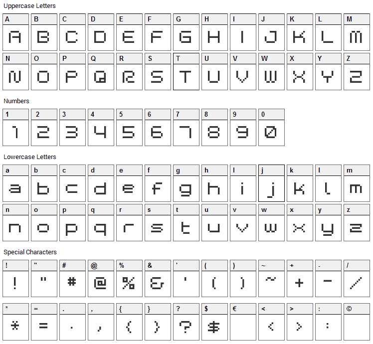 BM Space Font Character Map