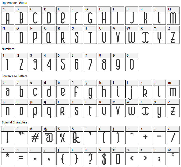 Boa Font Character Map