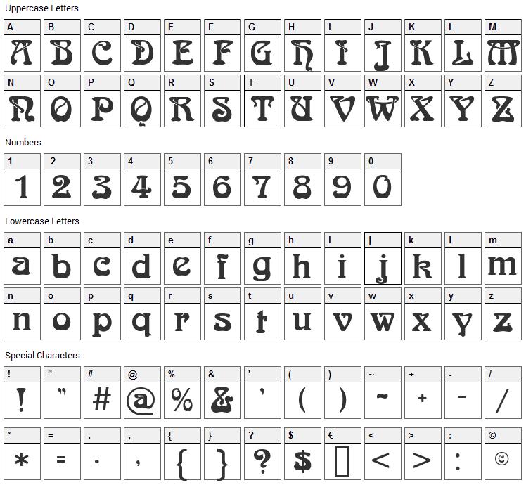 Bocklin Font Character Map