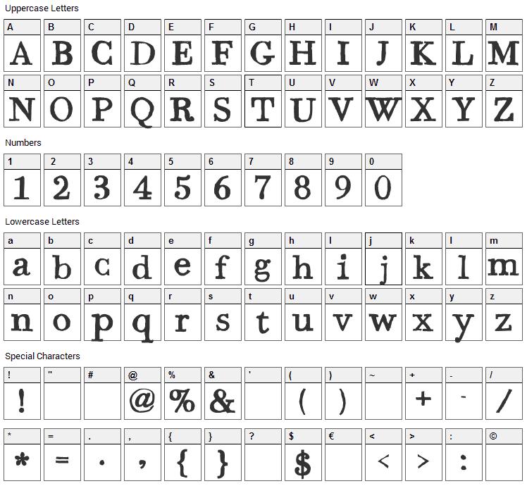 Bodoni Hand Font Character Map
