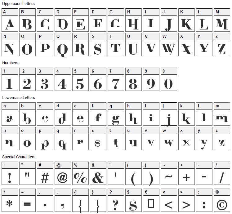 Bodoni Mutant Font Character Map