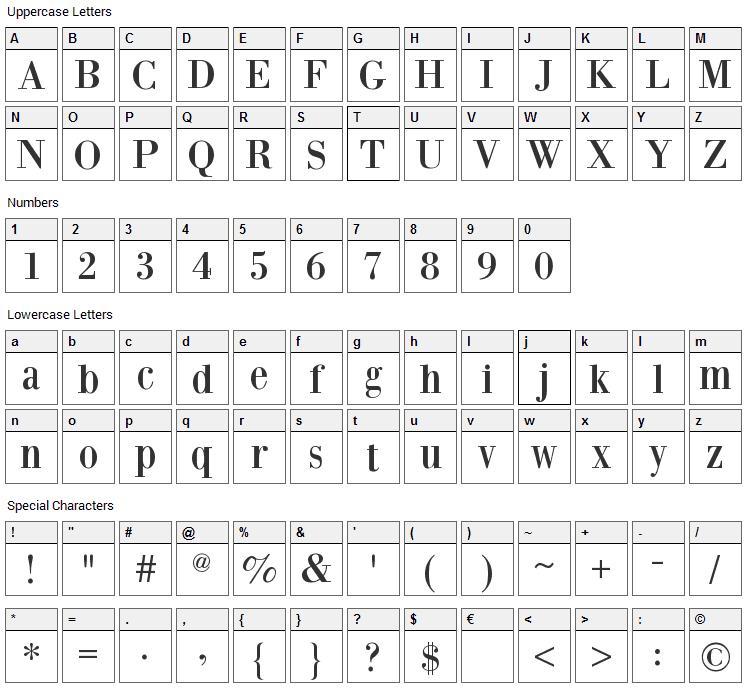 Bodoni XT Font Character Map