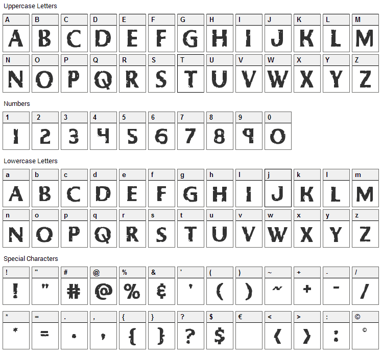 Body Swipers Font Character Map