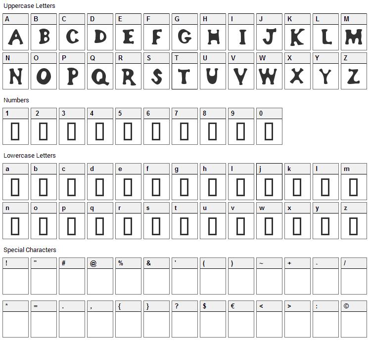Bodypump Font Character Map