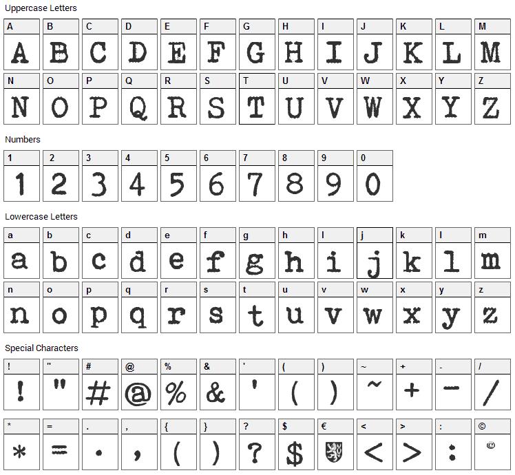 Bohemian Typewriter Font Character Map