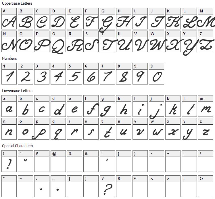Bold Curse Font Character Map