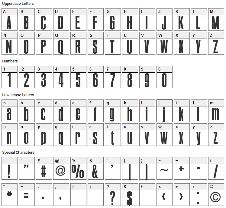Bold Pact Font Character Map