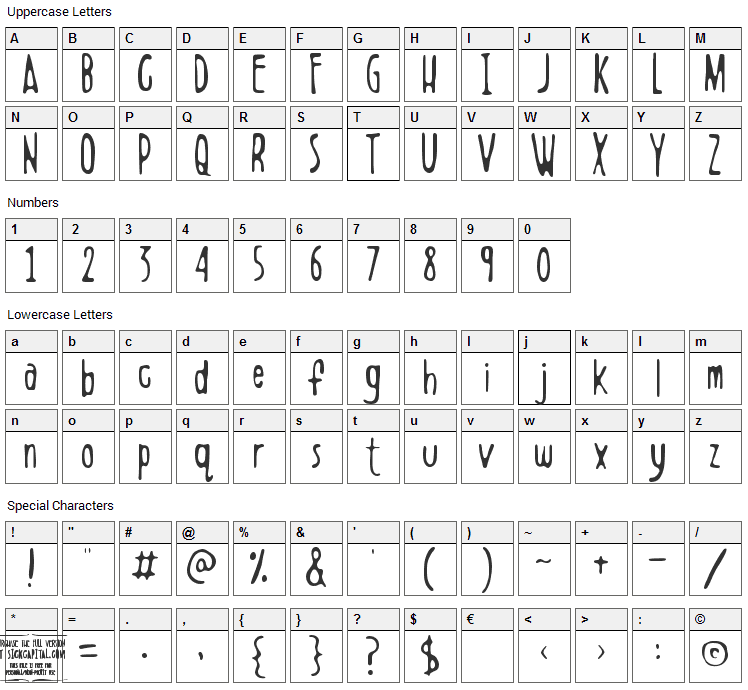 Boldenstein Font Character Map