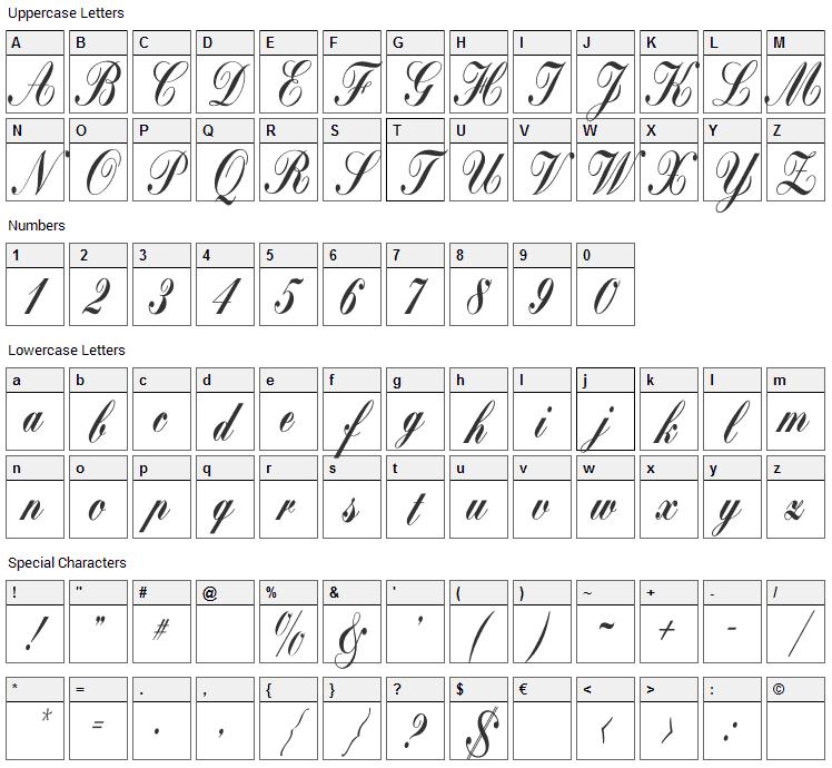 Bolina Font Character Map