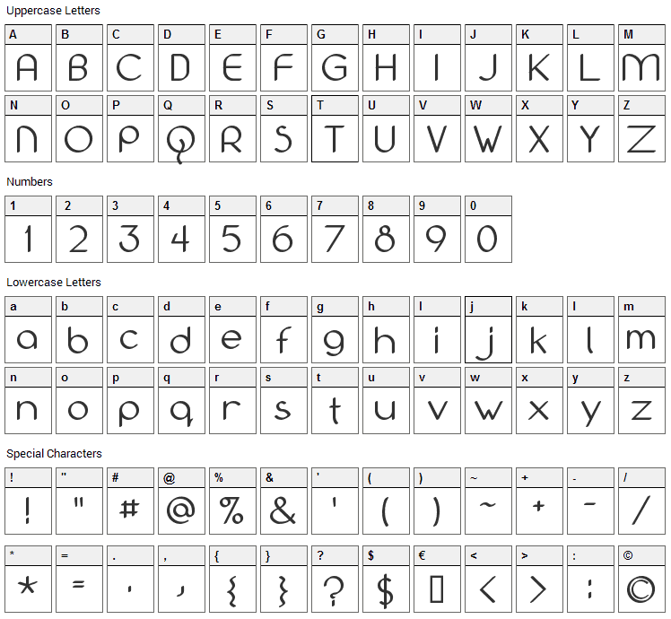 Bolonewt Font Character Map