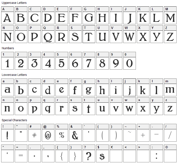 Bolton Font Character Map