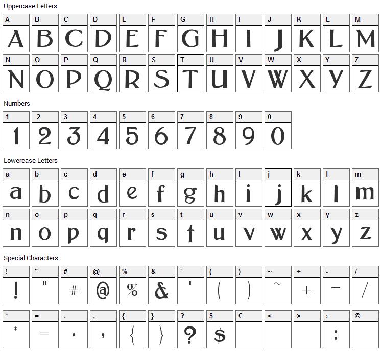 Bolton Sans Font Character Map