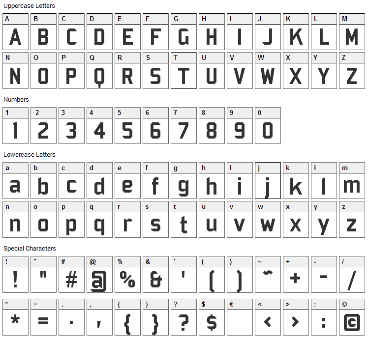 Bombardier Font Character Map