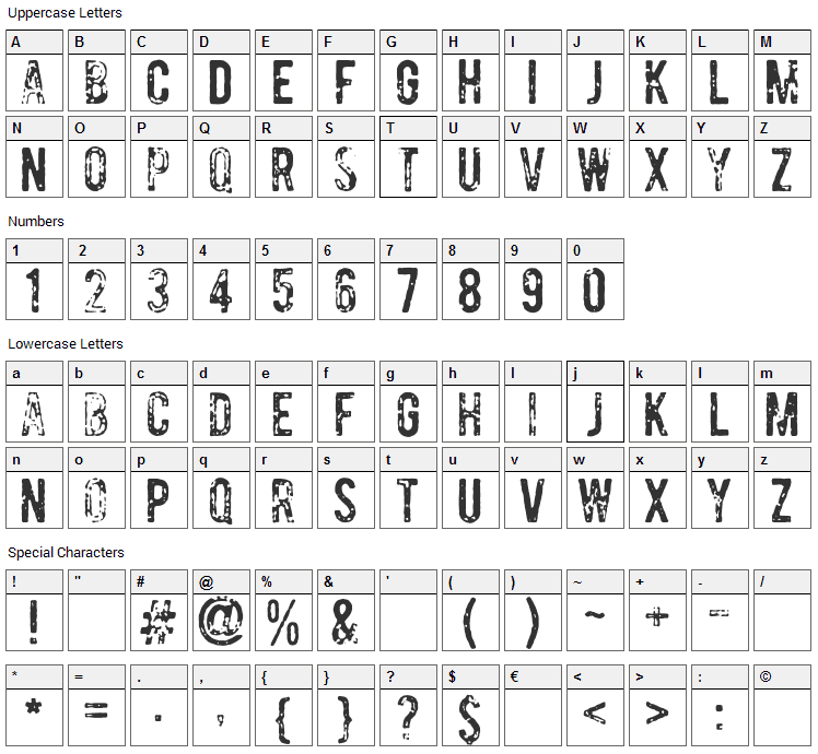 Bomber Font Character Map