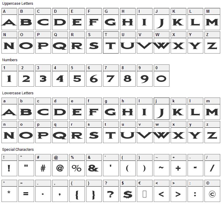 Bon Jovi Font Character Map