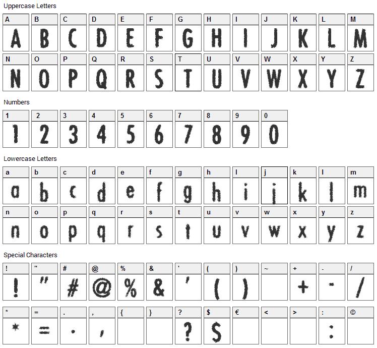 Bon Viveur Font Character Map