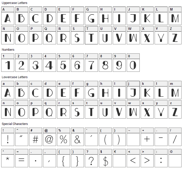 Bondi Font Character Map