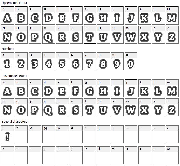 Bone Hymie Font Character Map