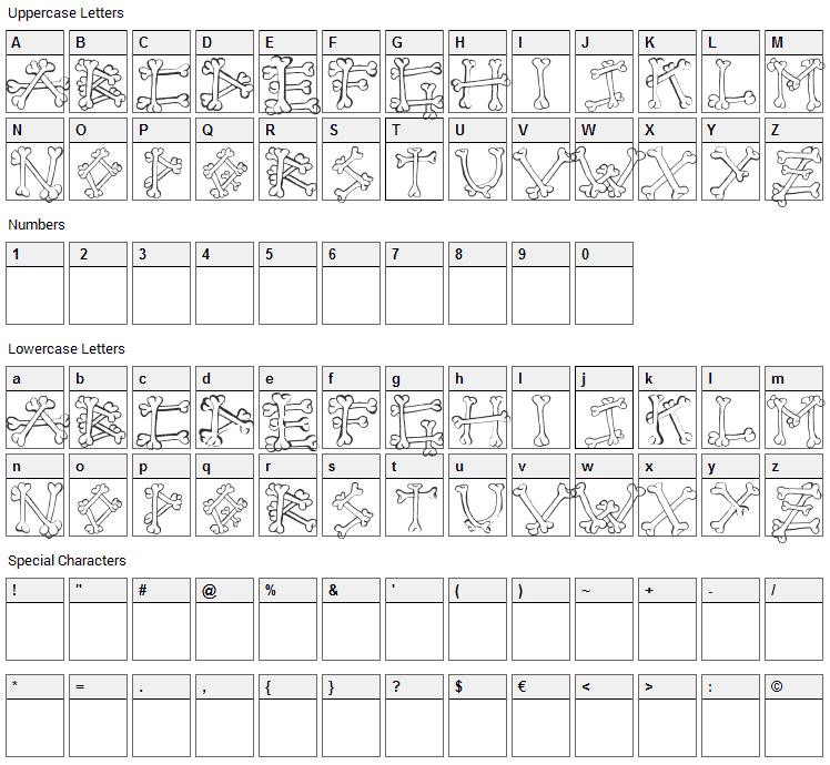 Bones 2 Font Character Map