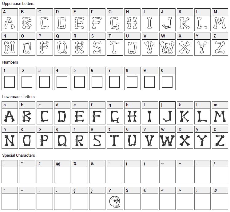 Bones Font Character Map