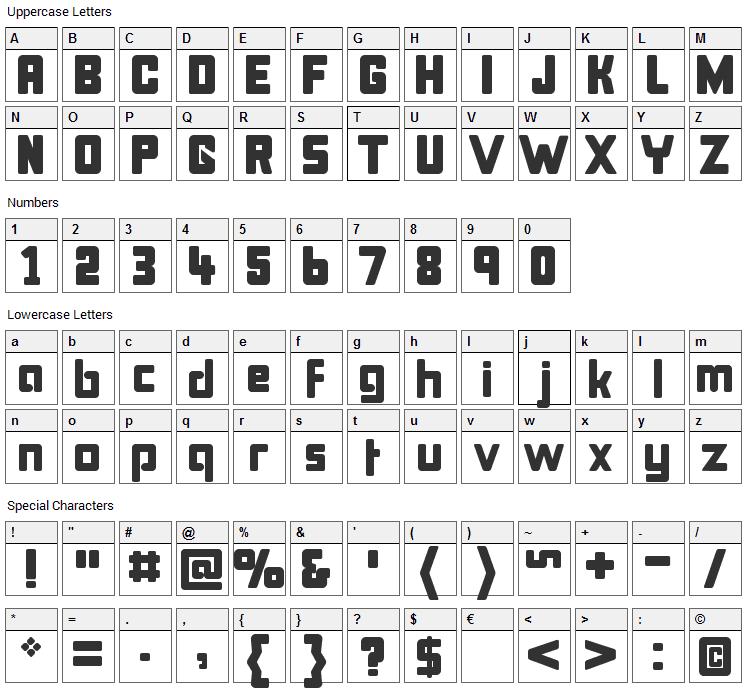 Bonk Font Character Map